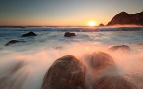 Picture sea, wave, the sky, the sun, light, sunset, squirt, glare, stones, rocks, dawn, horizon, surf, …
