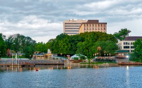 Picture summer, nature, Park, river, building, fountain, America