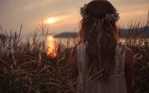 Picture The SKY, BROWN hair, POND, SUNSET, DAWN, The REEDS, WREATH, SUNDRESS