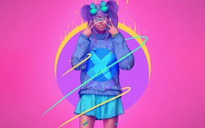 Picture Color, Girl, Glasses, Style, Asian, Fantasy, Style, Color, Fiction, Punk, Fiction, Illustration, Sci-Fi, Cyberpunk, Science …