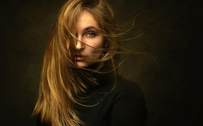 Picture look, background, model, hair, portrait, makeup, hairstyle, brown hair, in black, Lashon Rise