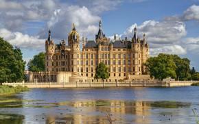 Picture river, castle, Germany, Schwerin, Schwerin Castle