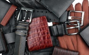 Picture leather, belts, wallets