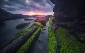 Picture sea, sunset, nature, rocks, shore