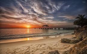Picture beach, sunset, the ocean, the evening, pier, Caribbean, Сaribbean beach, amazing sunset