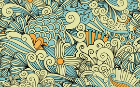 Picture flowers, abstraction, pattern, yellow, blue, patterns, background, pretty