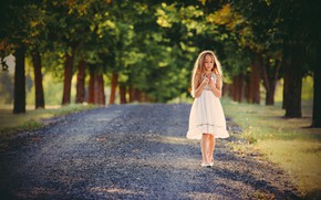 Picture road, summer, light, Park, dress, girl