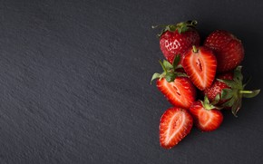 Picture berries, the dark background, strawberry, a handful