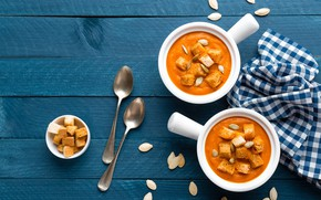 Wallpaper food, bread, pumpkin, wood, croutons, pumpkin soup