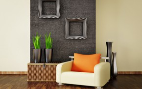 Picture design, interior, chair, living room, vases, modern