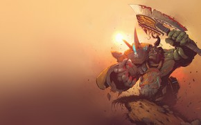 Picture The sun, Minimalism, Axe, WOW, Fantasy, Blizzard, Art, Orc, Orc, Fiction, World of WarCraft, WarCraft, …