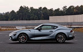 Picture asphalt, grey, coupe, Toyota, side view, Supra, the fifth generation, mk5, double, 2019, GR Above, …