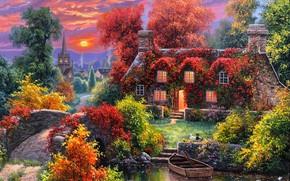 Picture autumn, water, sunset, bridge, nature, house, boat, duck, Abraham Hunter