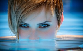Picture girl, Model, photo, water, blue eyes, short hair, blonde, portrait, close up, looking at camera, …