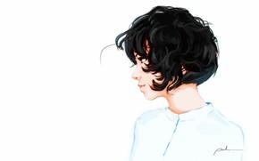 Picture white, Girl, Figure, Background, Art, Curly, Sergey Orlov, by Sergey Orlov
