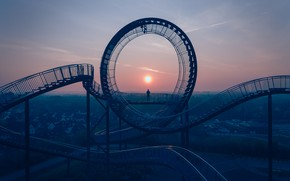 Picture sunset, people, Germany, attraction, Germany, Duisburg, Duisburg, Tiger & Turtle - Magic Mountain, Tiger and …