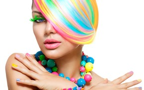 Picture girl, style, hands, makeup, beads, color, hair, manicure