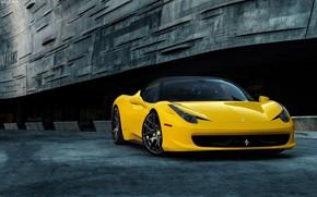 Picture ferrari, sportcar, yellow, 458 Italia