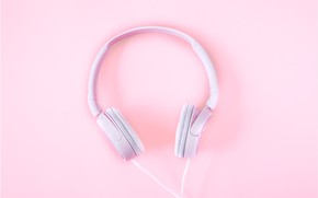 Picture pink, minimalism, headphones, minimalism, pink, headphones, background