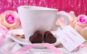 Picture coffee, roses, candy, tape, hearts, pink, sweet
