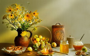 Picture flowers, apples, bouquet, bread, bagels, still life, honey, Still Life, Apple spas
