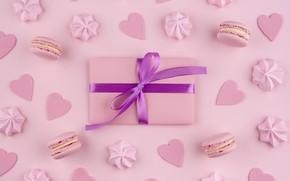 Picture background, pink, gift, cookies, macarons, meringue, meringue