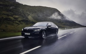 Picture road, black, BMW, sedan, dampness, G12, 2020, 7, 7-series, 2019, 745Le xDrive