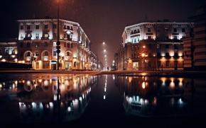 Picture road, snow, night, reflection, lamp, puddles, Belarus, Minsk, Belarus, Minsk, Alexander Fancover