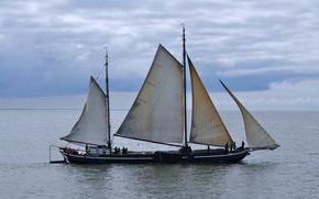Picture sea, the sky, sailing ship