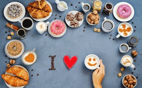 Wallpaper coffee, cookies, sweets, donuts, love, I love you, heart, cakes, cup, sweet, coffee, croissants, growing, ...