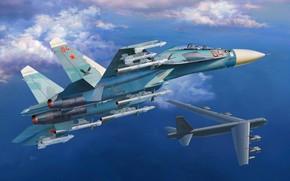 Picture USAF, Su-27, Su-27UB, B-52 Stratofortress