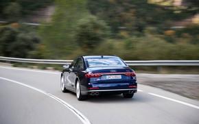 Picture blue, movement, Audi, sedan, rear view, Audi A8, Audi S8, 2020, 2019, V8 Biturbo