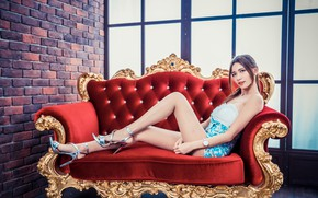 Picture girl, face, pose, sofa, legs