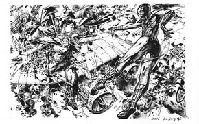 Picture plane, drawing, effects, Supergirl, ink, spiderman, Sketch, Kim Jung Gi