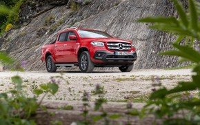 Picture red, Mercedes-Benz, slope, pickup, 2018, X-Class