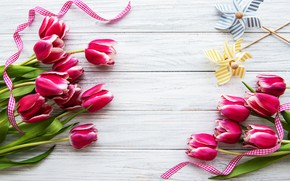 Picture tulips, wood, bouquets