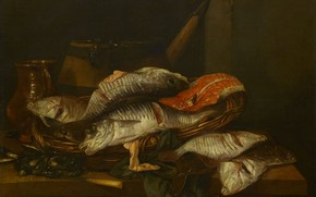 Picture oil, picture, canvas, Still life with Fish, 1670, Abraham van Beyeren, Abraham van Beyeren