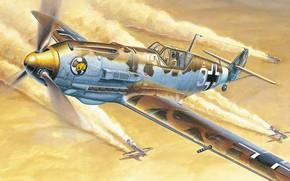 Picture Germany, fighter, Luftwaffe, Messerschmitt Bf 109E-4, DAK, Afrika Korps, Birdy Chang