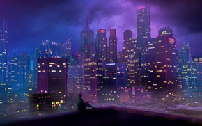 Picture Girl, Night, The city, Skyscrapers, 80s, Neon, 80's, Synth, Retrowave, Synthwave, New Retro Wave, Futuresynth, ...