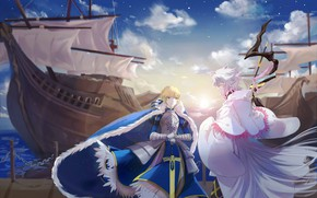 Picture ship, Marina, MAG, two, Merlin, the saber, Artoria Pendragon, Fate stay night, Fate / Stay …