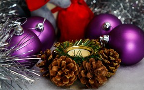 Picture balls, holiday, balls, candle, Christmas, purple, New year, silver, tinsel, bumps, Christmas decorations, Christmas decorations, …