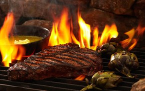 Picture Fire, Meat, Steak, Barbecue, Grill