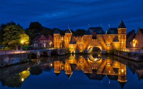 Picture the sky, night, bridge, reflection, the building, home, lights, fortress, Netherlands, night, tree, Netherlands, water …