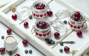 Picture berries, Breakfast, tray, yogurt, Chia
