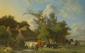 Picture oil, picture, Landscape, 1853, Jean François Valois, Жан Франсуа Валуа