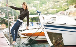 Picture girl, Model, photo, water, jeans, blonde, boats, pier, harbor, portrait, jacket, black jacket, looking at …