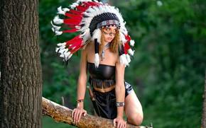 Picture girl, pose, tree, feathers, paint, roach, Vyacheslav Turcan, Evgeniya Ivanova