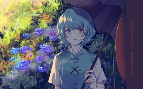 Picture blue hair, hydrangea, different eyes, Touhou Project, under the umbrella, Project East, summer rain, Tatara …