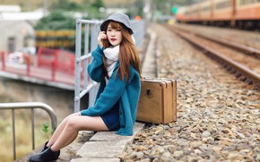 Picture girl, station, suitcase, Asian, cutie, bokeh