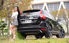 Picture look, Girls, Volvo, Asian, beautiful girl, black car, posing on the car